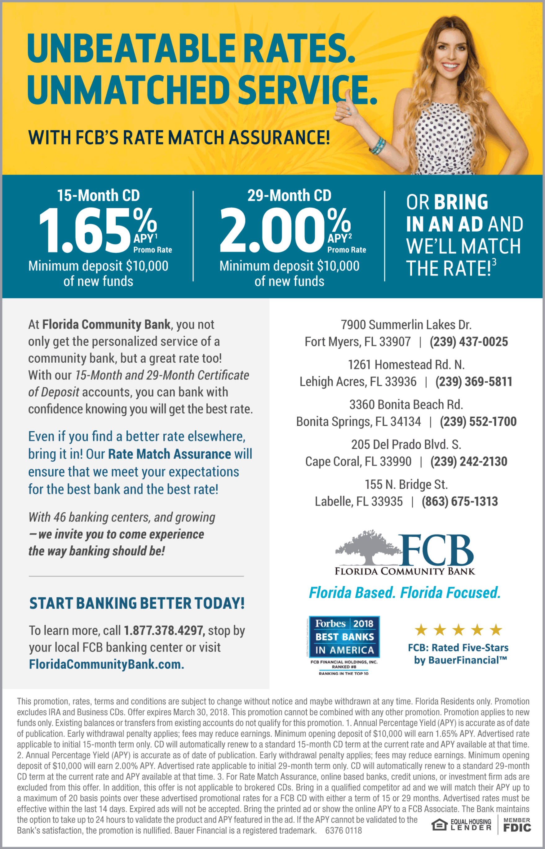 Florida community bank unbeatable rates unmatched service e start banking better today to learn more call 18773784297 stop by your local fcb banking center or visit 1betcityfo Gallery