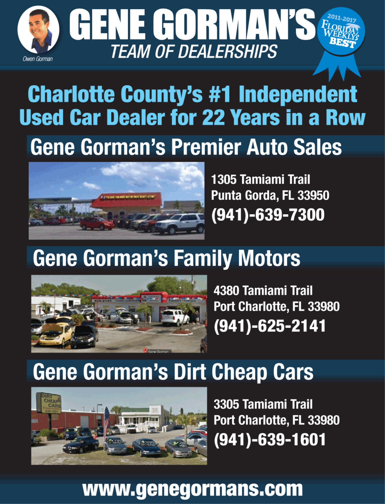Charlotte CountyÂu0027s #1 Independent Used Car Dealer For 22 Years In A Row  Gene GormanÂu0027s Family Motors 4380 Tamiami Trail Port Charlotte, FL 33980 ...