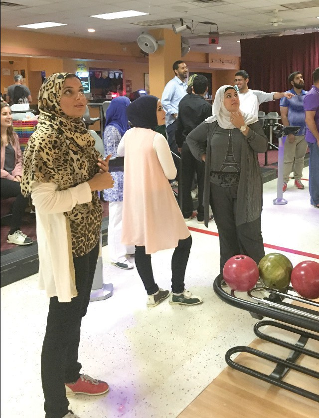 Family members of Port Chatlotte resident Samera Musallet celebrate the Muslim holiday Eid with a bowling day. COURTESY PHOTO