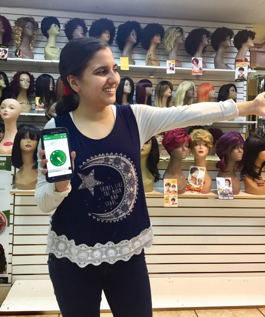 Layla Abedrabbo, 17, of Fort Myers, shows how her app for Muslim prayer uses a compass to point to Mecca — the holy city in Saudi Arabia for Muslims. COURTESY PHOTO