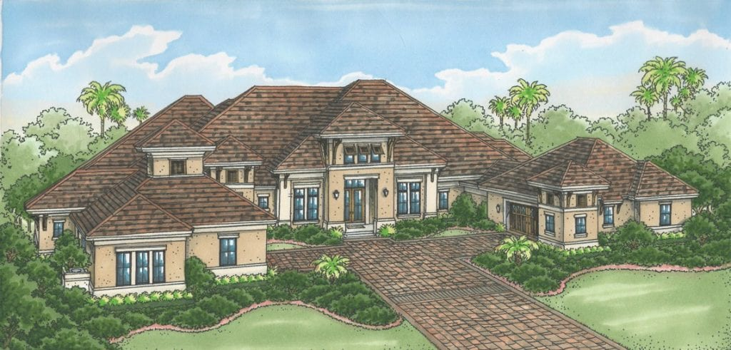 The Sophia III, by Stock Custom Homes, offers a golf course view.