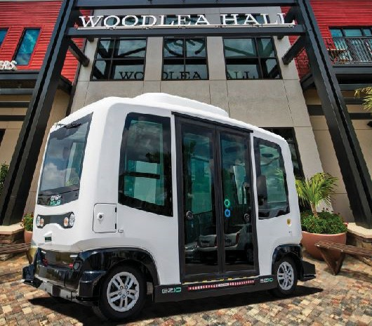 One of two autonomous shuttles at Babcock Ranch, built by EasyMile, that are used to carry potential homebuyers out to view model homes. COURTESY PHOTO
