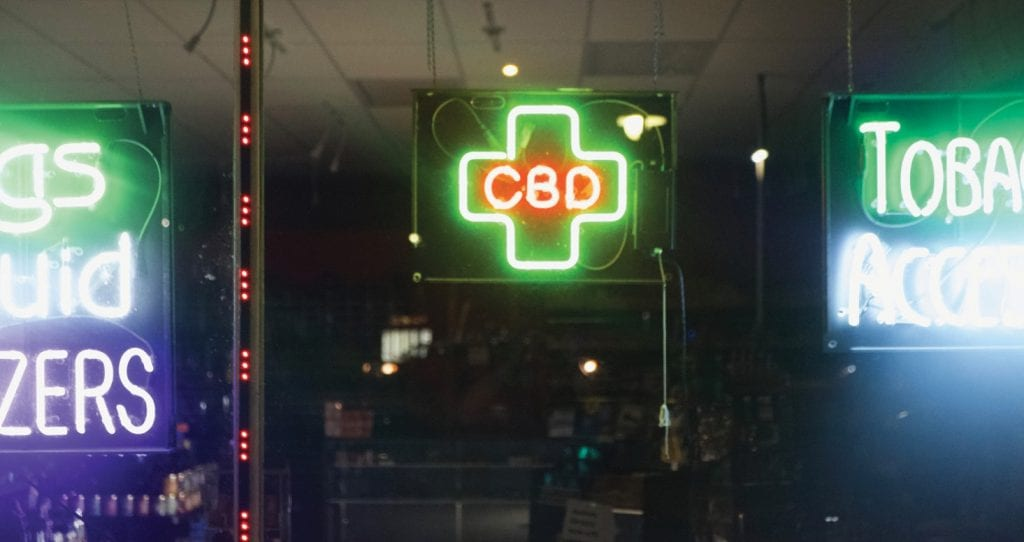 A neon sign advertising CBD products at a smoke shop in Cape Coral. EVAN WILLIAMS / FLORIDA WEEKLY