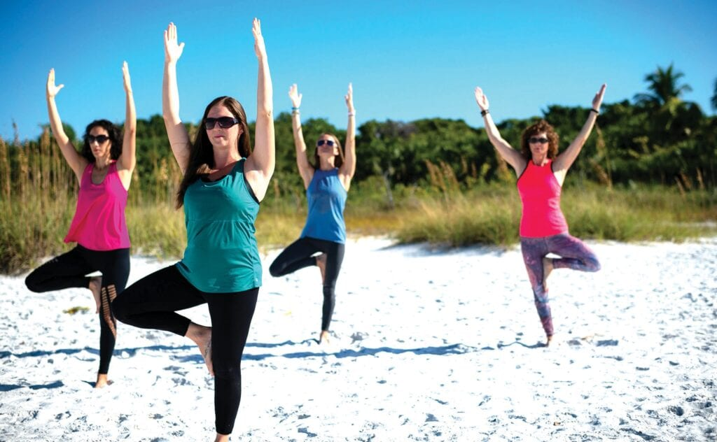 Yoga on Fort Myers Beach. THE LEE COUNTY VISITOR & CONVENTION BUREAU COURTESY PHOTO