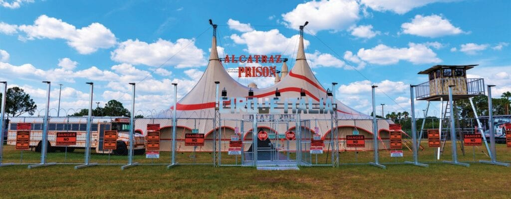 Cirque Alcatraz, a new show by Cirque Italia that tells the story of a man wrongfully jailed in the infamous prison, premieres June 24-27 at JetBlue Park in Fort Myers. COURTESY PHOTO