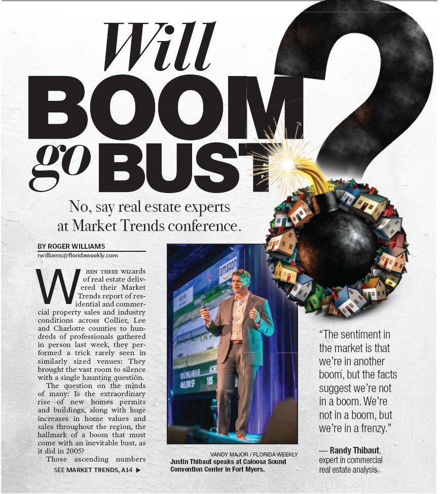 """""""The sentiment in the market is that we're in another boom, but the facts suggest we're not in a boom. We're not in a boom, but we're in a frenzy."""" — Randy Thibaut, expert in commercial real estate analysis"""
