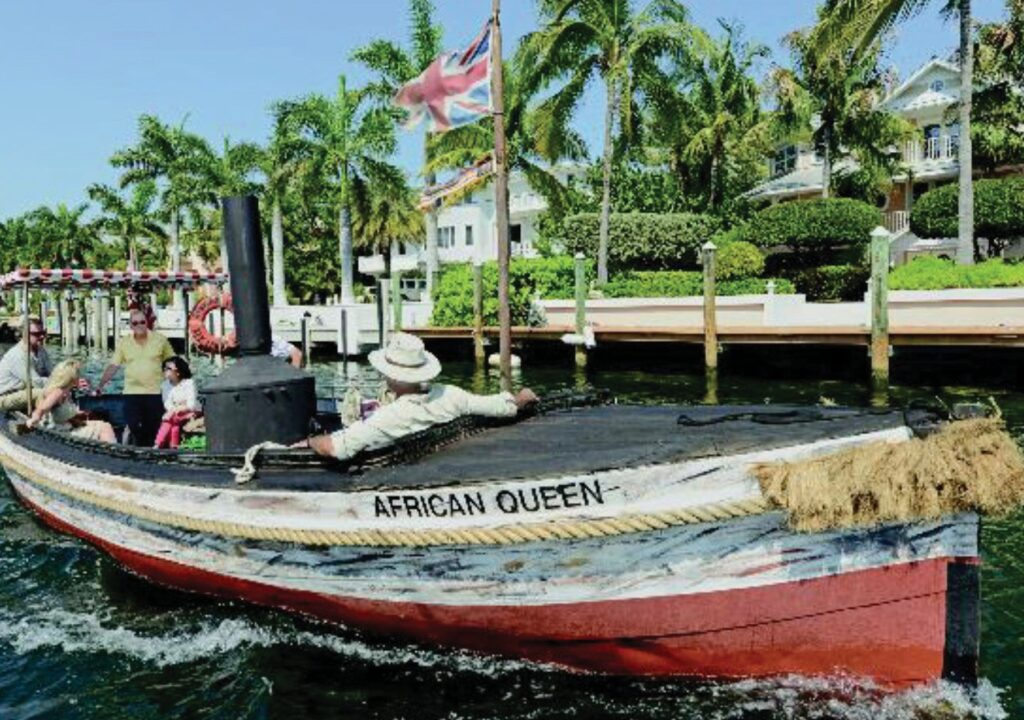 """You saw Katharine Hepburn and Humphrey Bogart in """"The African Queen."""" The vessel they used in the film is available for cruises in Key Largo. COURTESY OF FLORIDA KEYS & KEY WEST"""