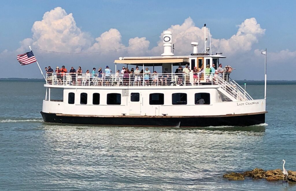 Lady Chadwick, a two-story, 65-foot-long boat, docks at McCarthy's Marina or South Seas Island Resort's marina and offers views of the islands surrounding Captiva. MARY THURWACHTER / FLORIDA WEEKLY