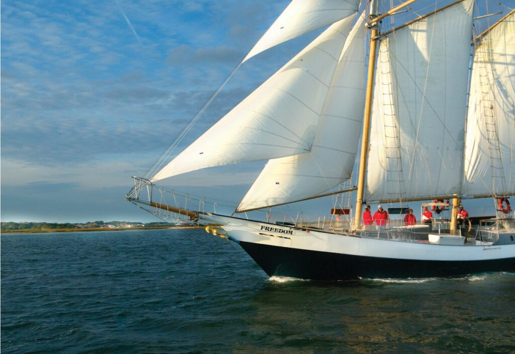 With nearly 2,400 square feet of sail, Schooner Freedom is an honorable testament to naval history and to the blockade runners of the early 1800s. COURTESY OF ST. AUGUSTINE, PONTE VEDRA & THE BEACHES VISITORS AND CONVENTION BUREAU
